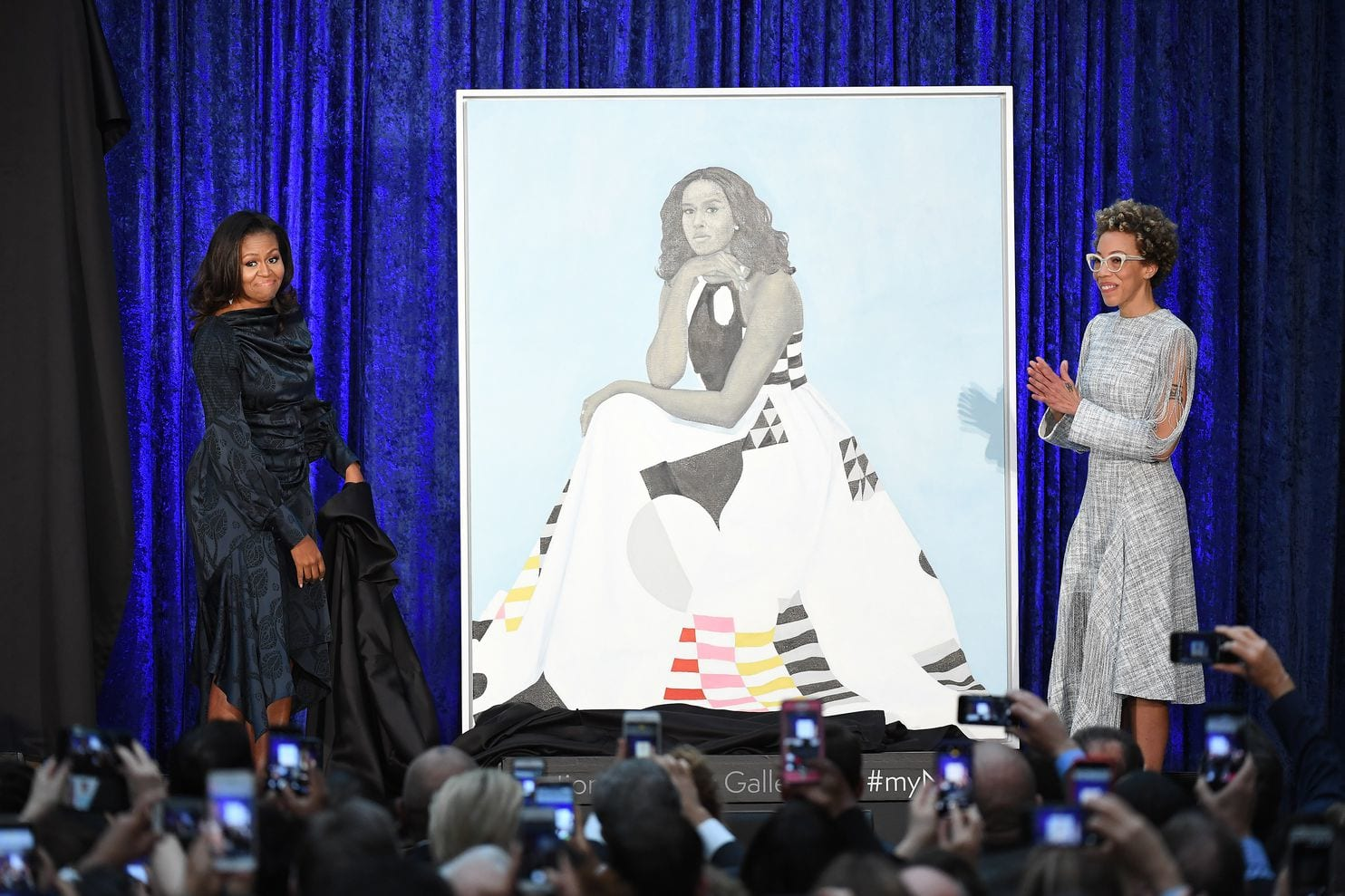 Michelle Obama Portrait with Michelle and Amy Sherald